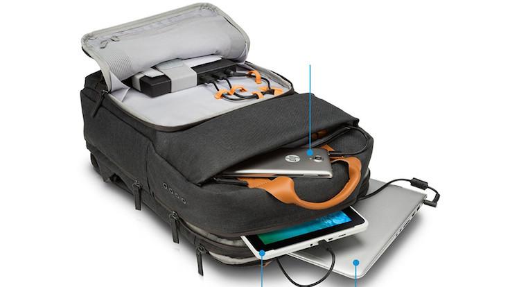 Mobil cihazları şarj eden sırt çantası