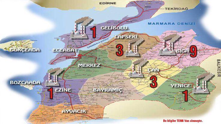 Çanakkale'nin termik santral haritası!