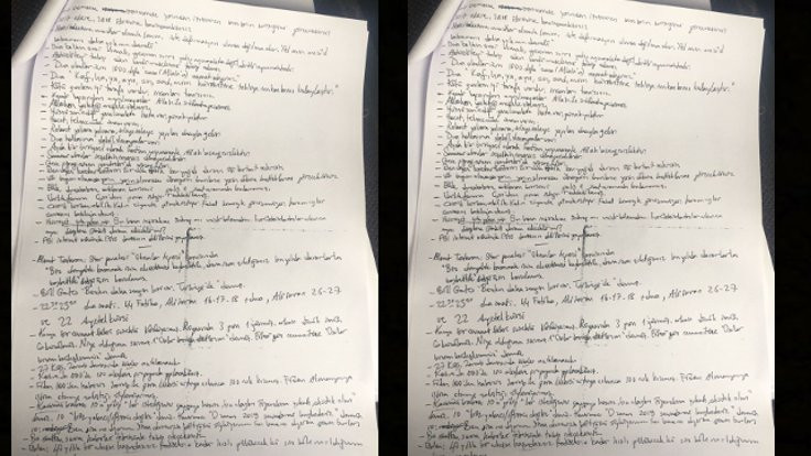 Darbe sanığında anlamı çözülemeyen notlar