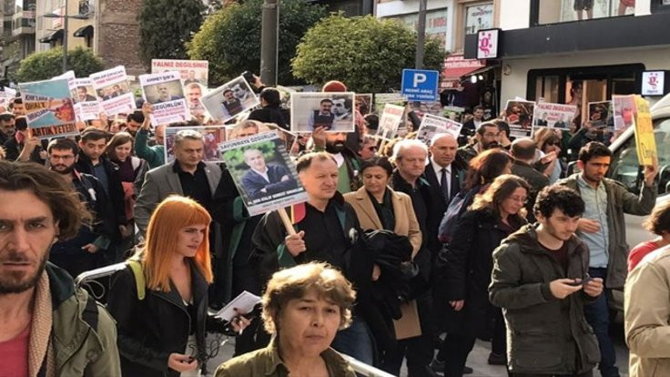Tutuklu gazeteci, avukat ve akademisyenlerle dayanışma yürüyüşü