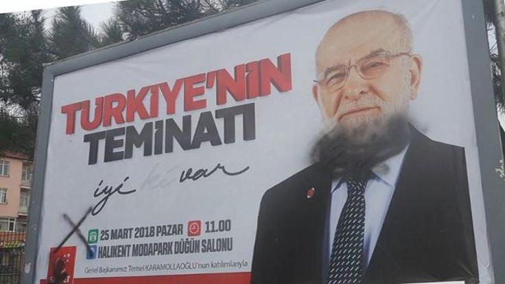 Saadet Partisi afişleri boyandı!