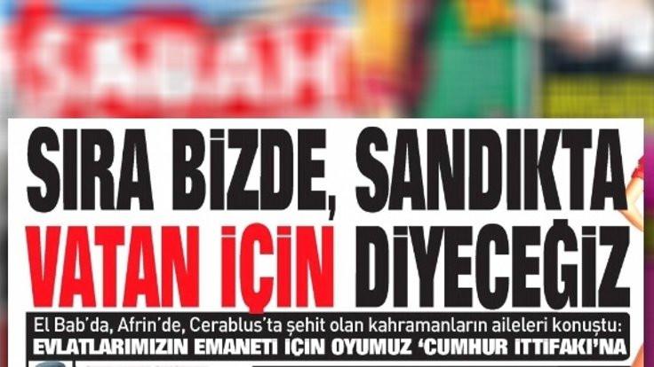 Sabah'ın 'Sıra bizde' manşetine tepki