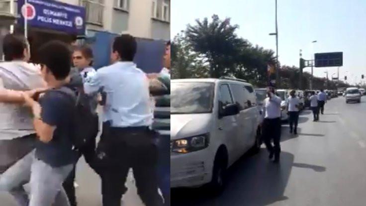 Uber şoförlerinin eyleminde arbede çıktı