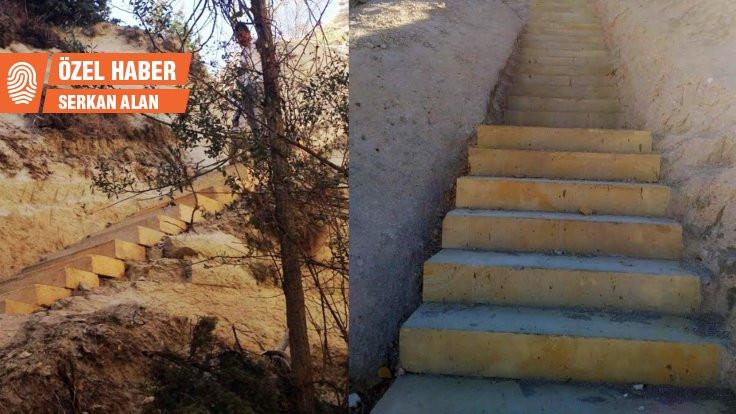 Peri Bacaları'na beton merdiven!