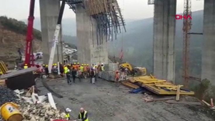 Viyadük inşaatında blok düştü: Olay yerinden görüntüler