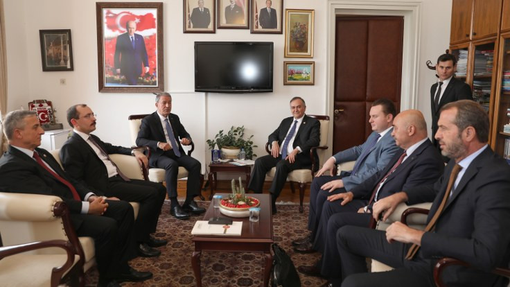 Hulusi Akar CHP, MHP ve İYİ Parti'yi ziyaret etti