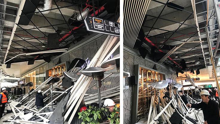 Zorlu AVM'de kafenin çatısı çöktü: 6 yaralı