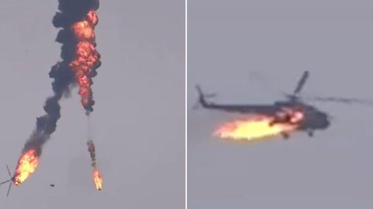 İdlib'de Suriye helikopteri düşürüldü