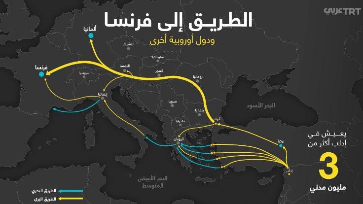 TRT Arapça'dan göçmenler için Avrupa'ya gidiş haritası