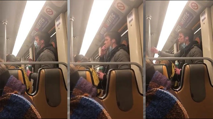 Metroya tükürüğünü sürdü gözaltına alındı