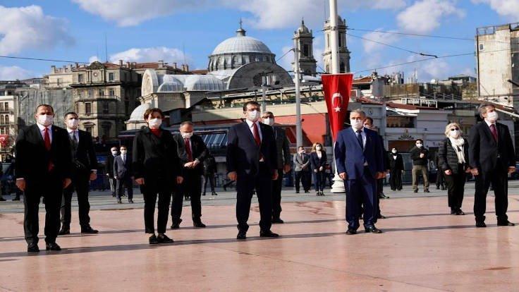 İmamoğlu'ndan Taksim'e çelenk