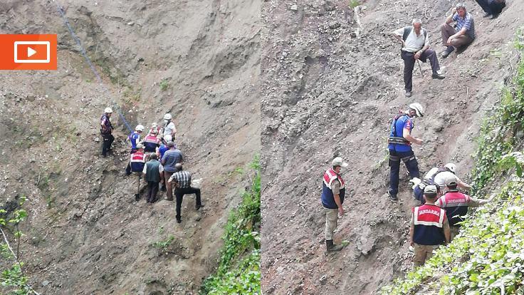 Samsun'da uçuruma düşen kişi kurtarıldı