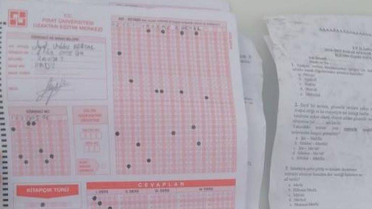 Yolda bulunan sınav kağıtları için açıklama