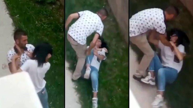 Hastane bahçesinde kadına şiddet