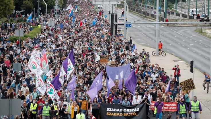 Macaristan'da bağımsız medya için protesto