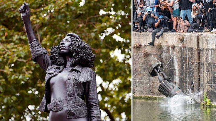 Köle tacirinin yerine ırkçılık karşıtı heykel geldi
