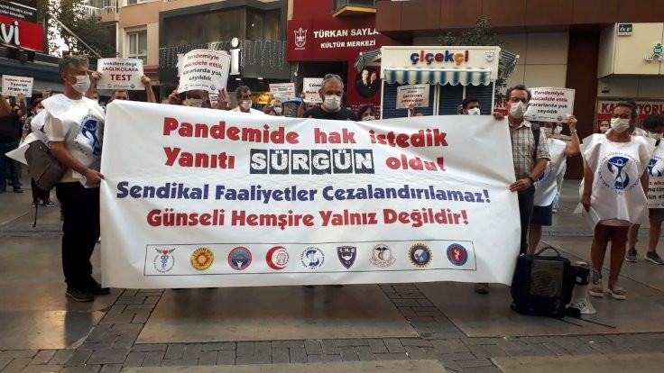 İzmir'de sağlıkçılardan sürgün protestosu