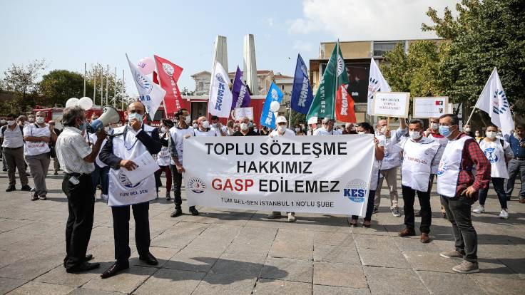 Bakırköy'de toplu sözleşme protestosu