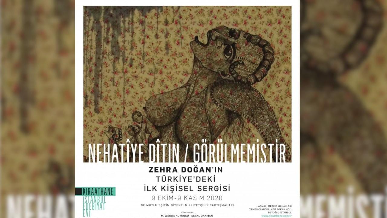 Zehra Doğan'ın Türkiye'deki ilk kişisel sergisi Kıraathane İstanbul Edebiyat Evi'nde