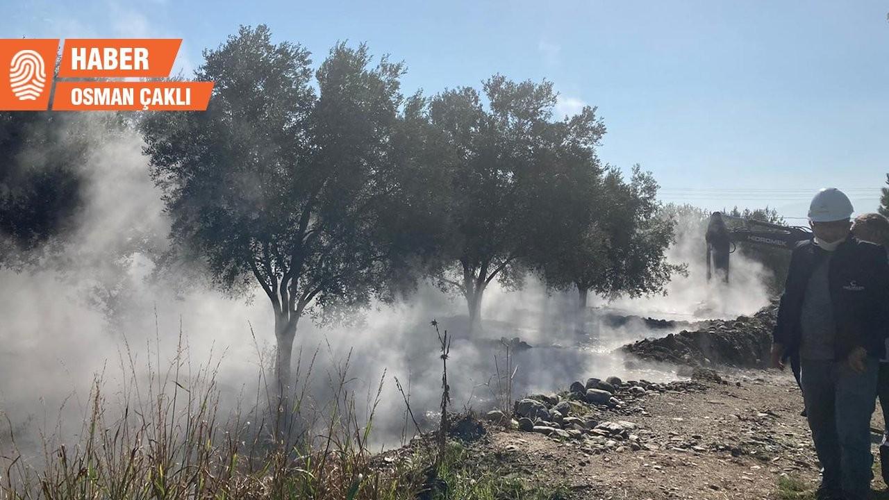 JES borusu patladı, tarlaları kimyasal su bastı