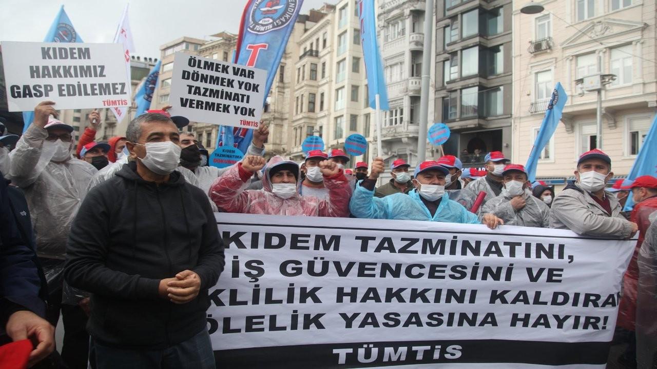 Kıdem tazminatı ve emeklilik hakkını kısıtlayan torba yasa protesto edildi