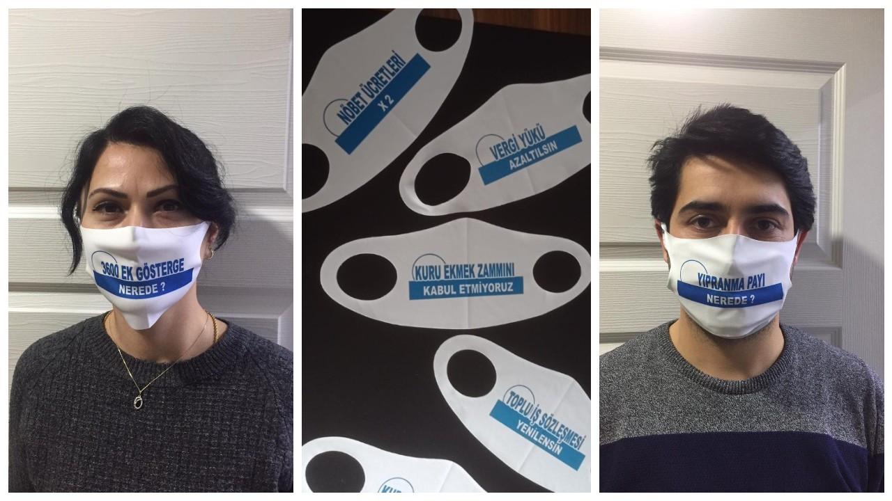 Tokat'ta sağlıkçılardan 'maskeler konuşuyor' eylemi