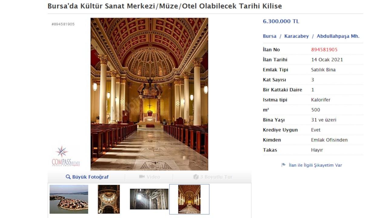 Bursa'da satılık kilise ilanı