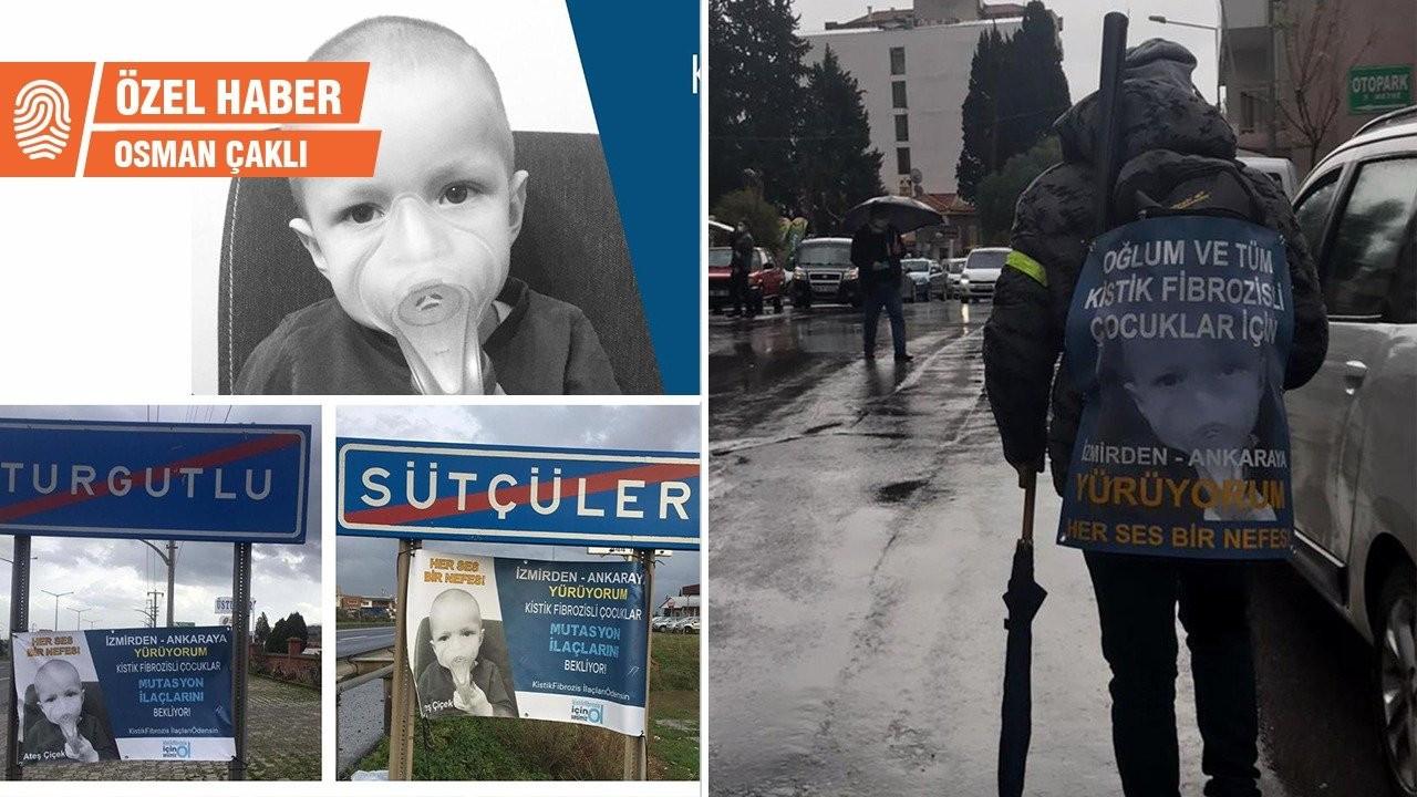 Kistik fibrozis hastaları için Ankara'ya yürüyor