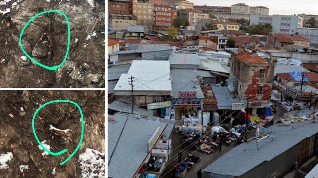 Ankara'da dükkan kazısında kemikler bulundu