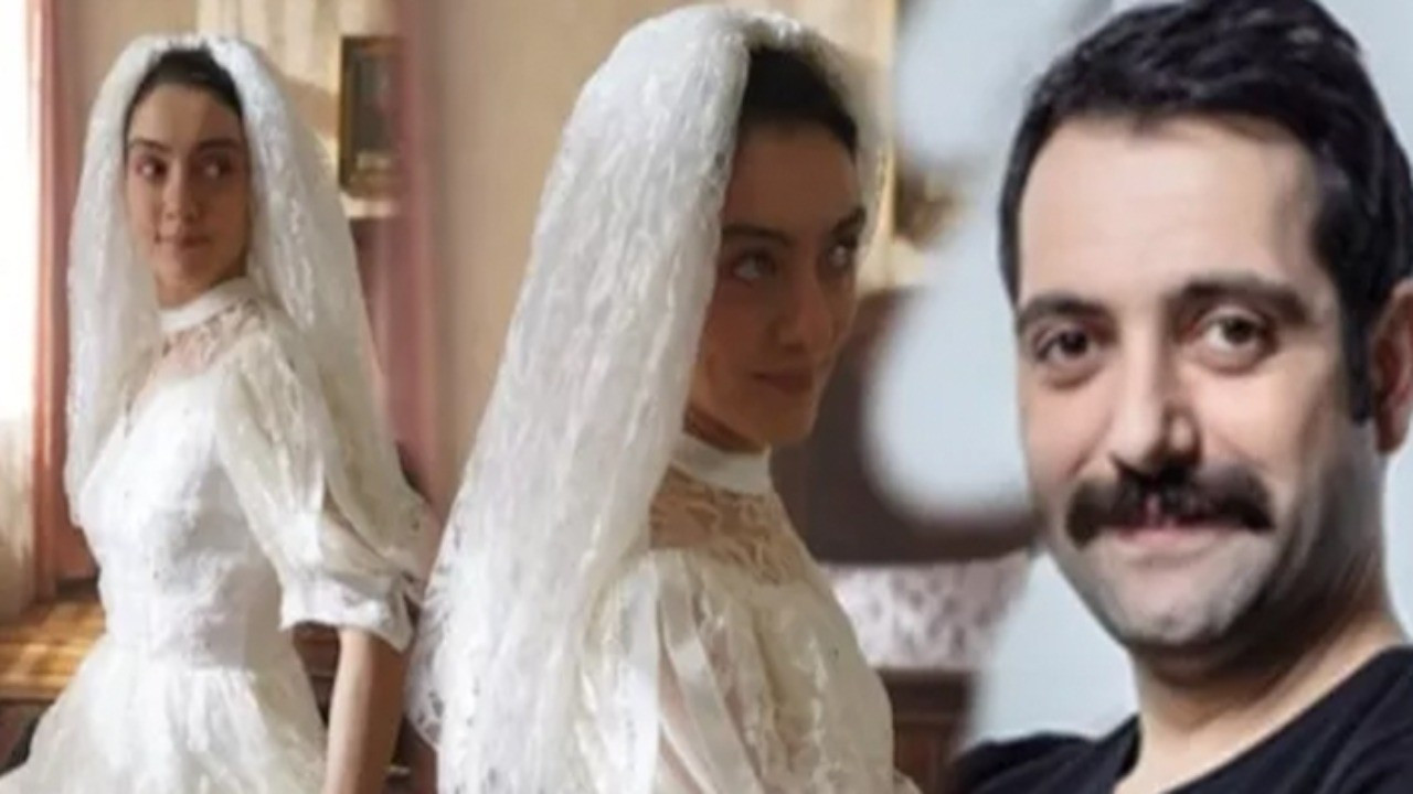 Dizide gelinlik giyen oyuncuyla eşi arasında gülümseten mesajlaşma