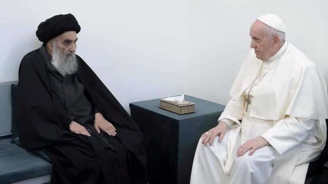 Papa Francis, Irak'ta Şii lider Sistani'yle görüştü