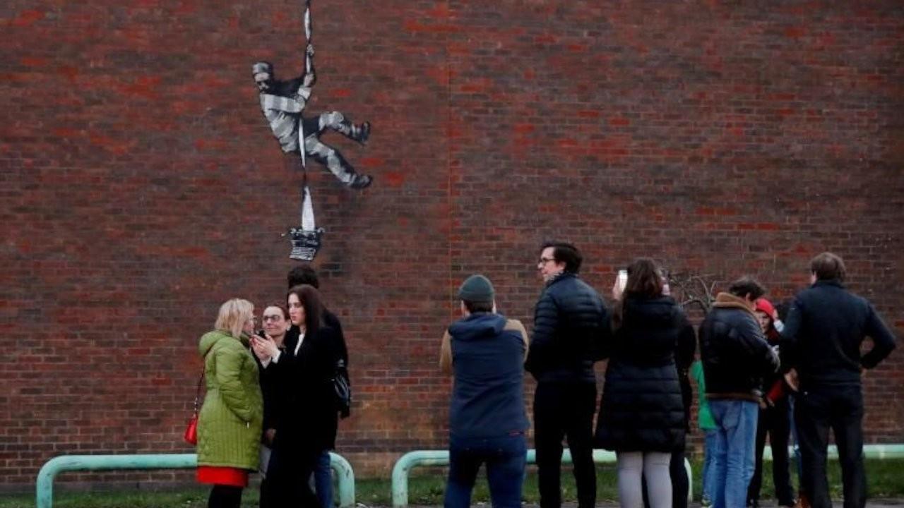 Banksy'nin 'Hapishaneden Kaçış' eserine saldırı