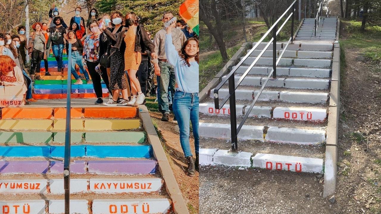 ODTÜ yönetimi 4. kez merdivenleri beyaza boyadı