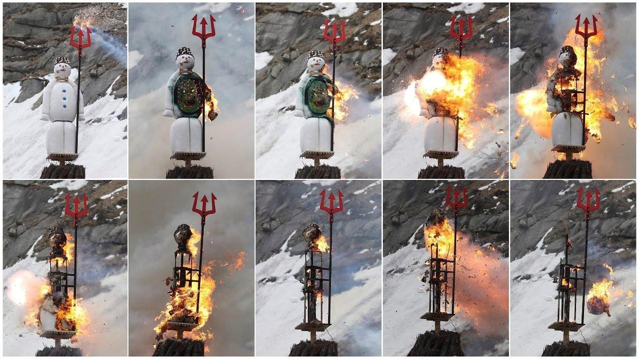 Covid İsviçre'nin Böögg'ünü de izole etti: İlk kez Alplerde yakıldı