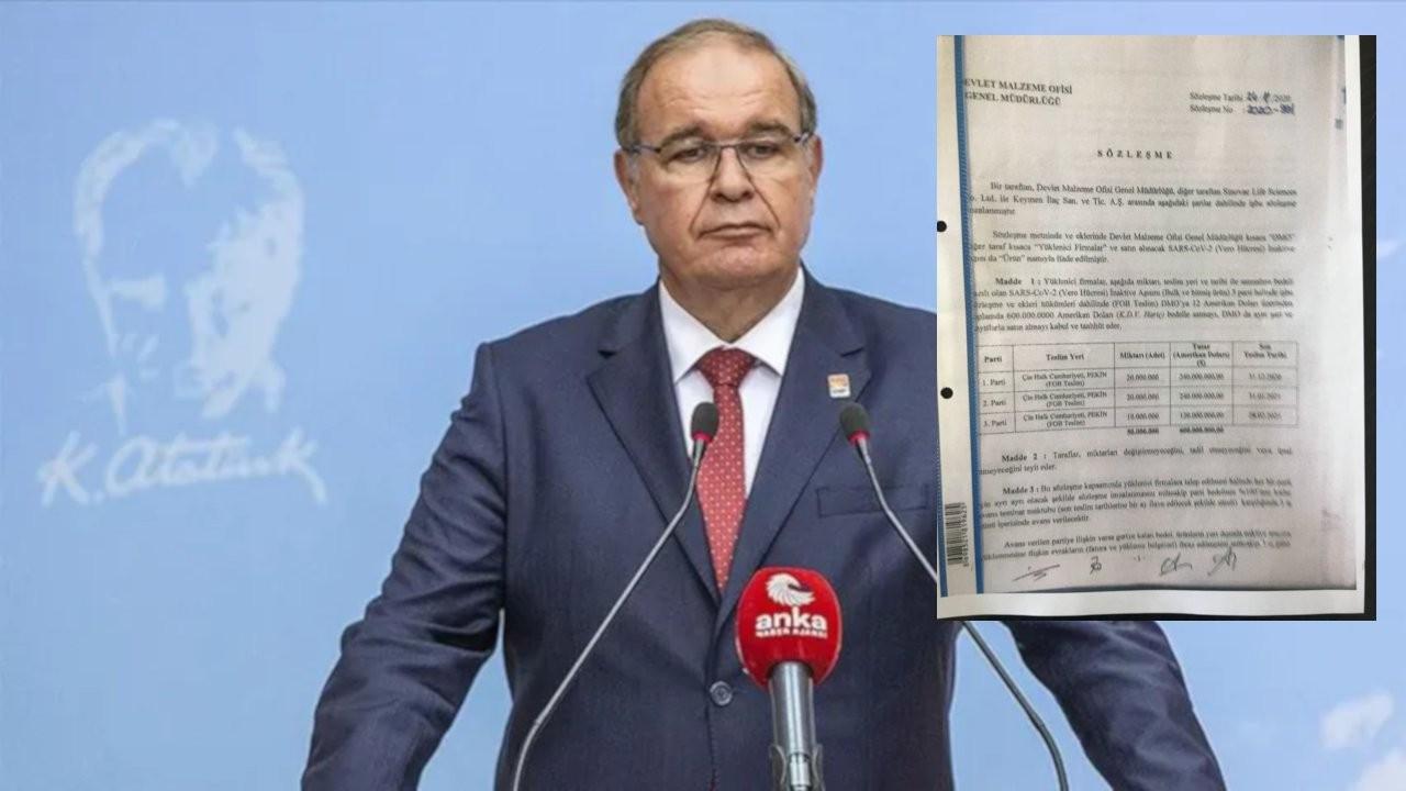 CHP, Sinovac sözleşmesi açıkladı: 'Aracı yok' diyenler yalan söylüyor