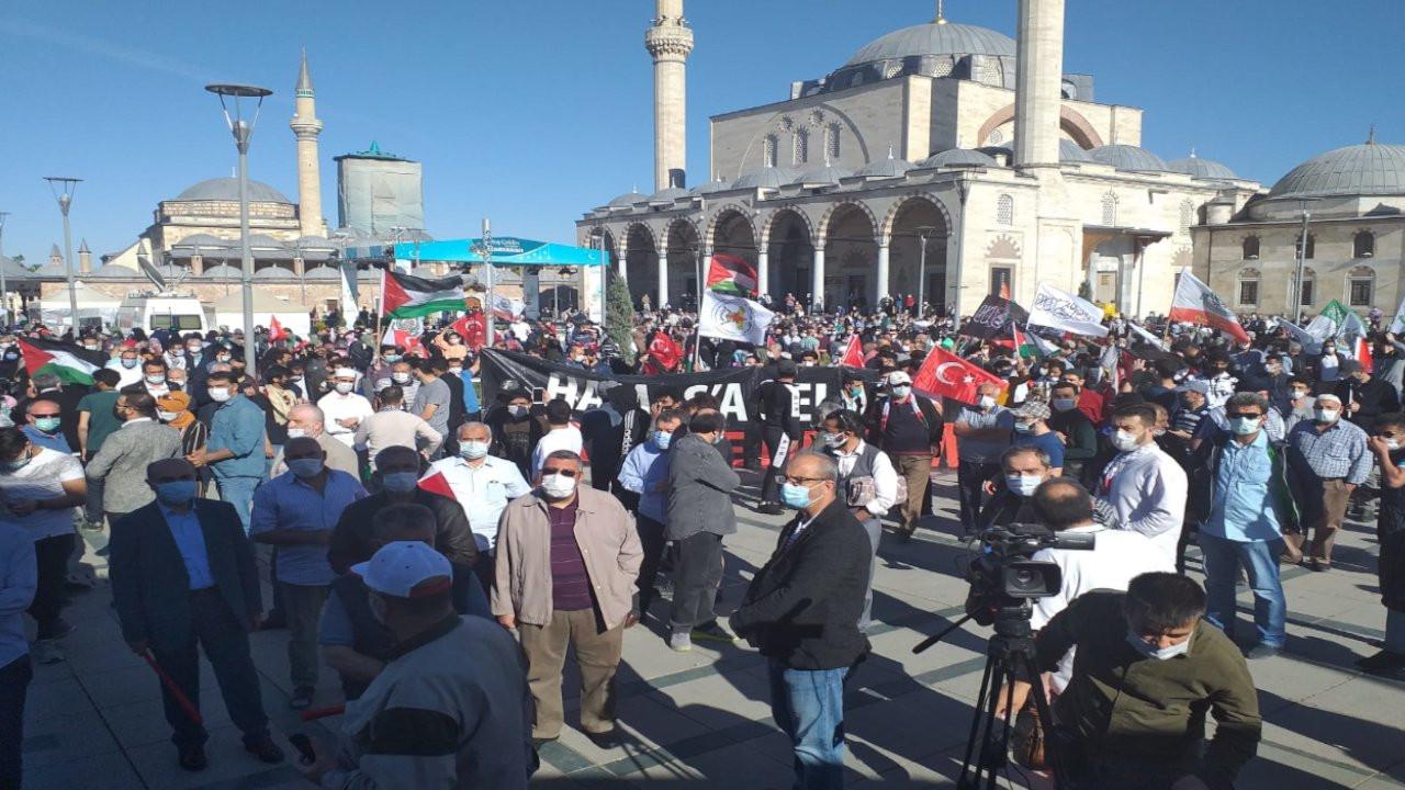 Konya'da yüzlerce kişi tam kapanmaya rağmen Kudüs için toplandı
