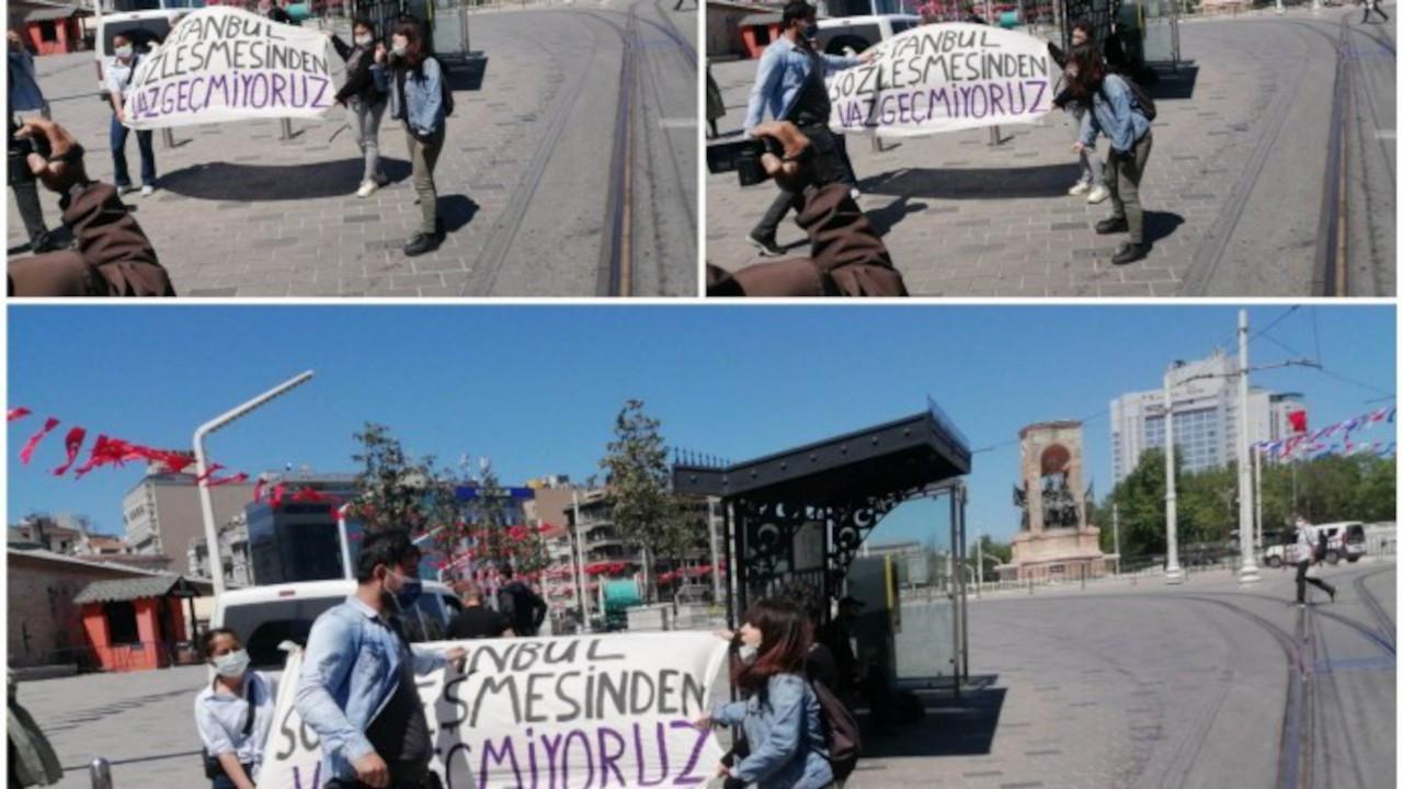 Taksim'de açıklama yapmak isteyen 3 kadına gözaltı