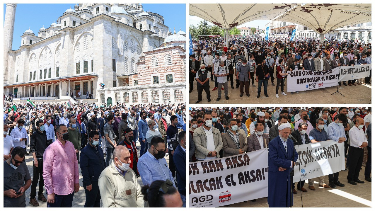 Fatih Cami avlusunda yüzlerce kişiyle Filistin için namaz kıldılar