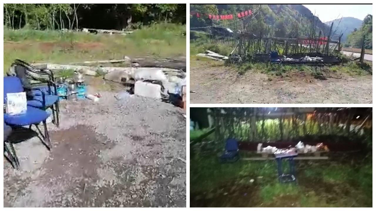 İkizdere'de jandarma köylülerin çadırlarını topladı