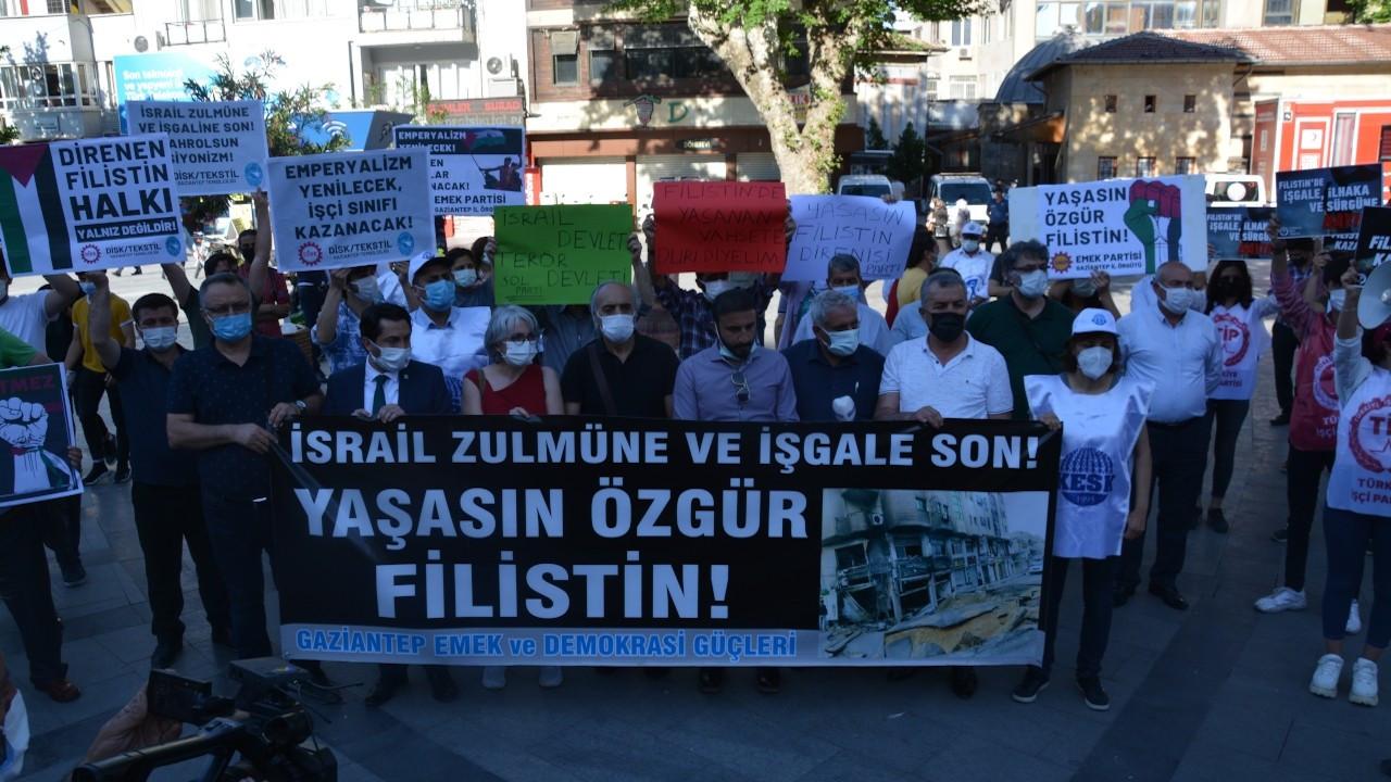 Gaziantep'te Filistin'e destek eylemi