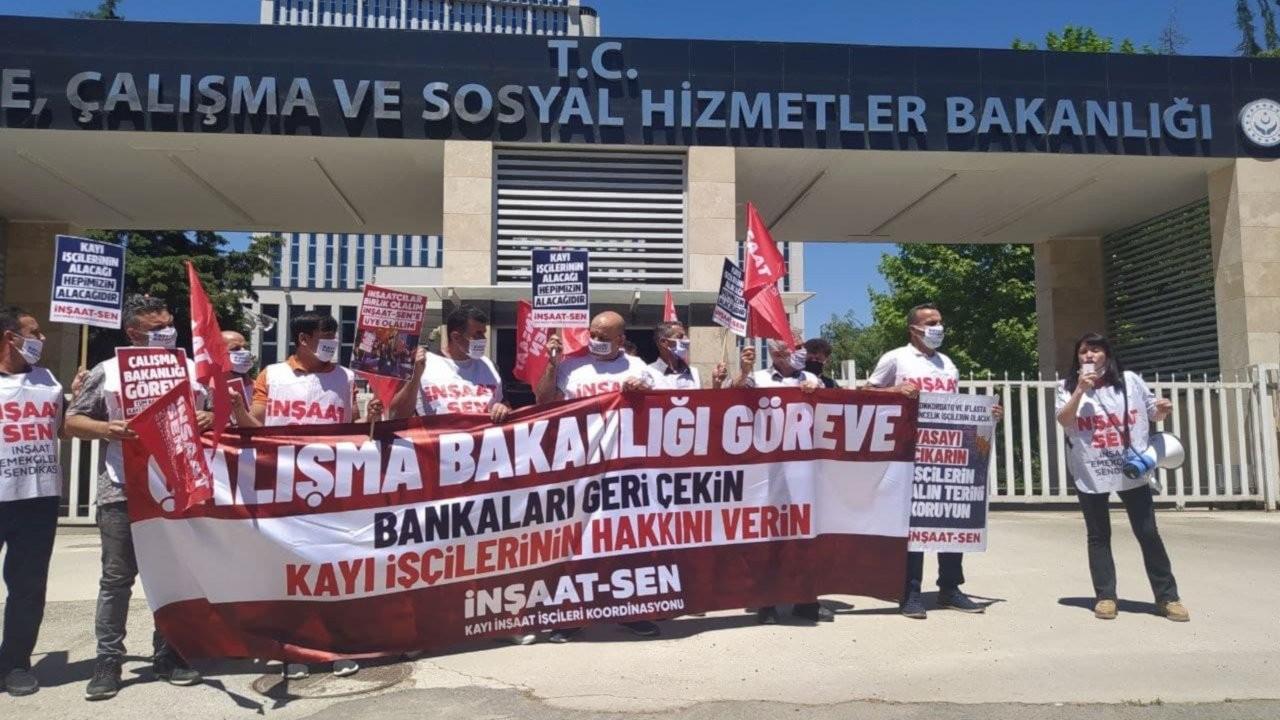 Kayı işçileri bakanlık önünde eylem yaptı