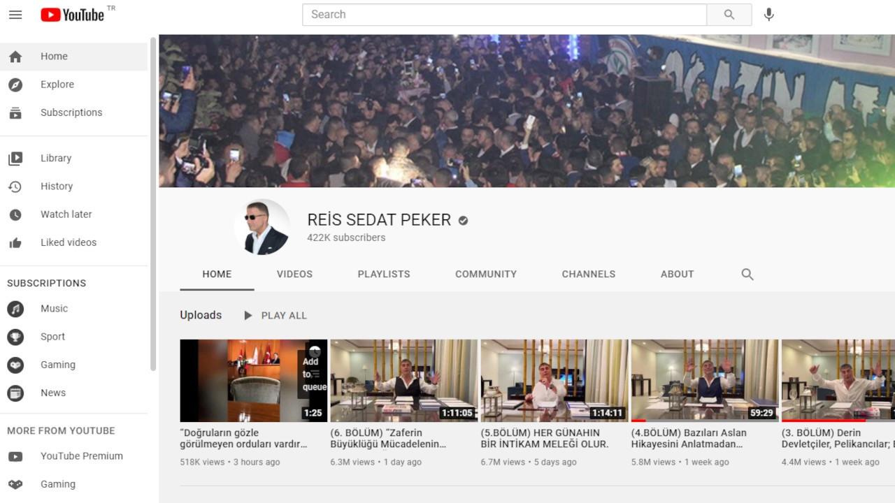 Youtube Sedat Peker'in hesabına 'onay tiki' verdi