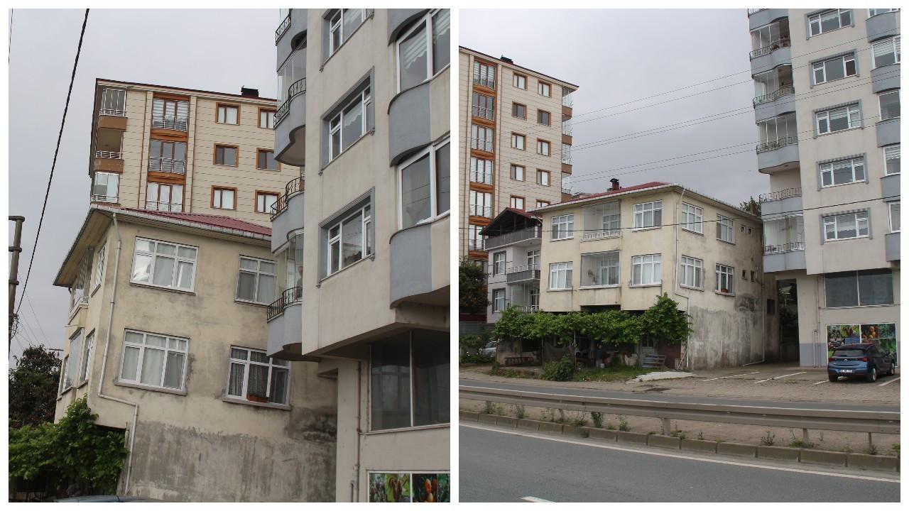 Rize'de üç katlı bina yan yattı, mahalleli önlem talep etti
