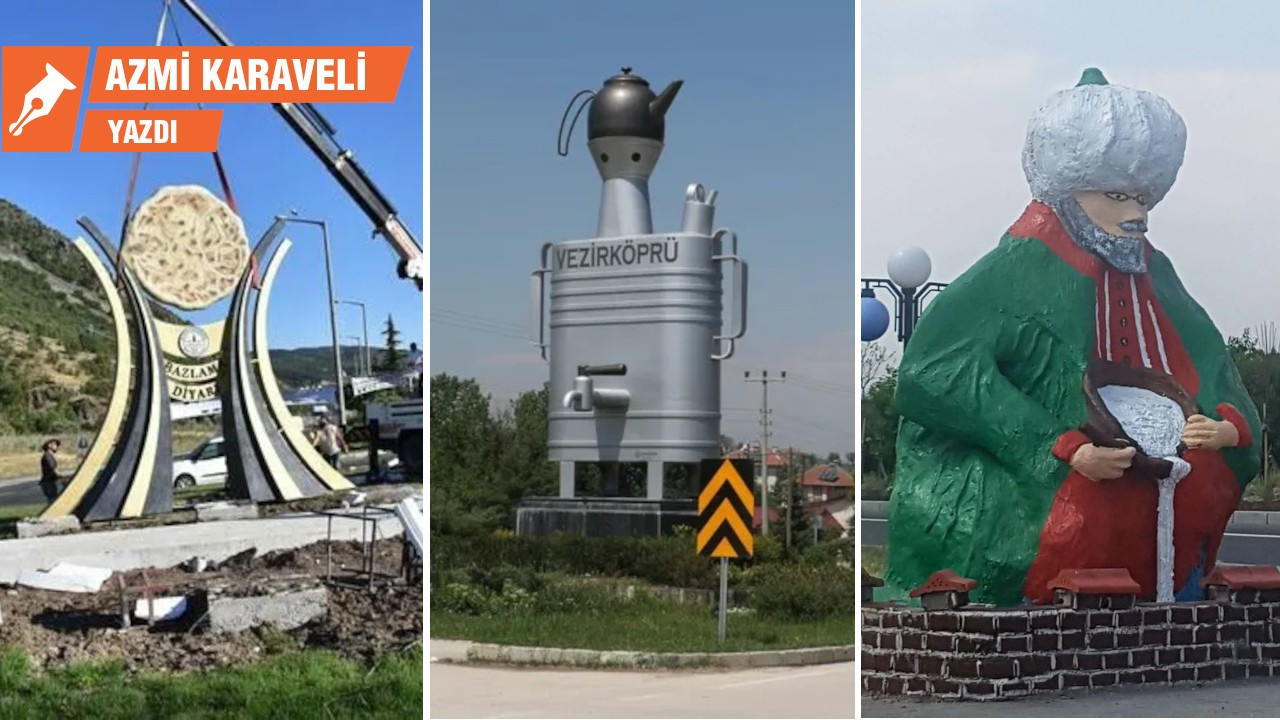 Karpuz 'heykeli' yapan kültür esnafı
