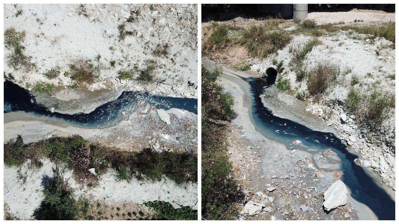 İstanbul'da Şamlar Gölü'ne akan dere renk değiştirdi