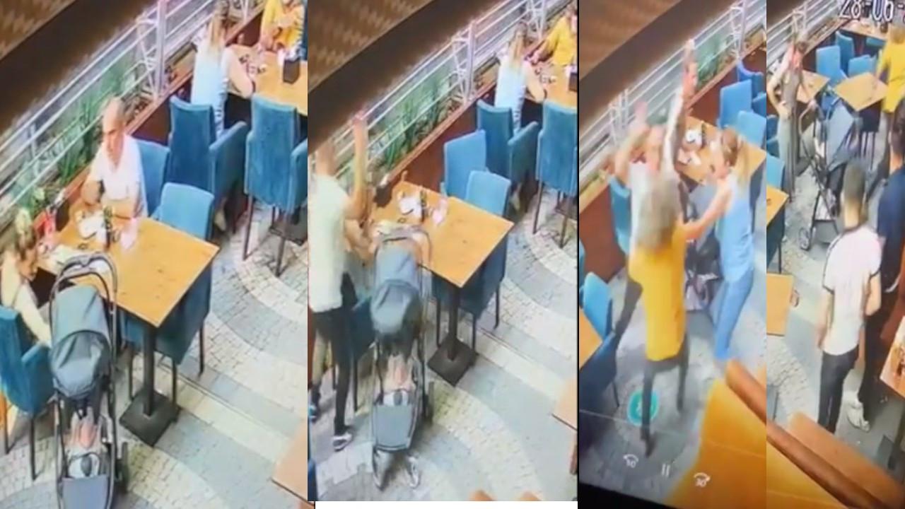 Başında bardak kırıp bıçakla saldıran eski eşinden müşteriler kurtardı
