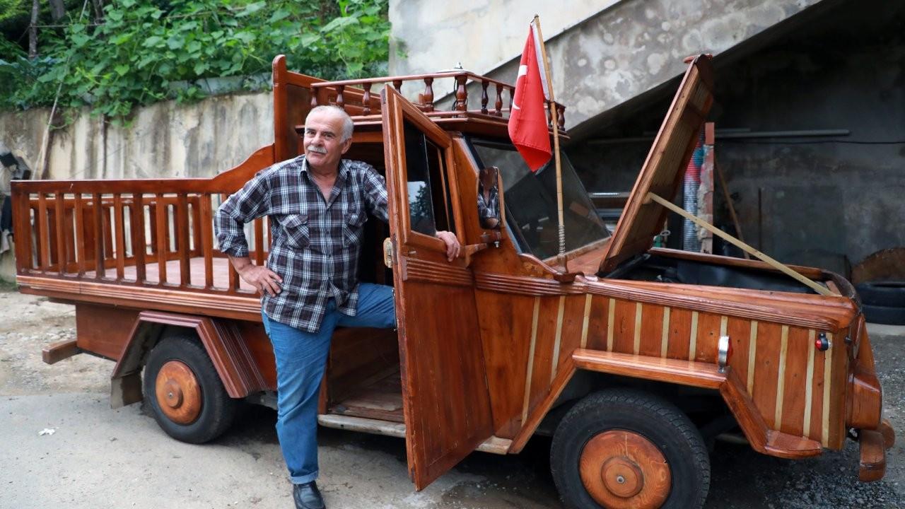 Rizeli marangoz kamyoneti ahşap kapladı: Sedirin suda 20 yıl ömrü var
