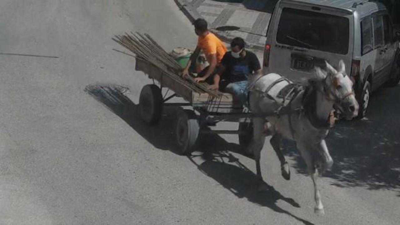 İnşaattan demir çalanlar polisten at arabasıyla kaçtı