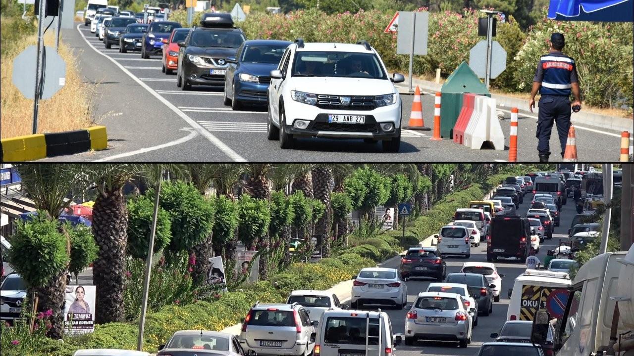 Tatil beldesinde jandarma şerit kapattı, trafik keşmekeşi oluştu