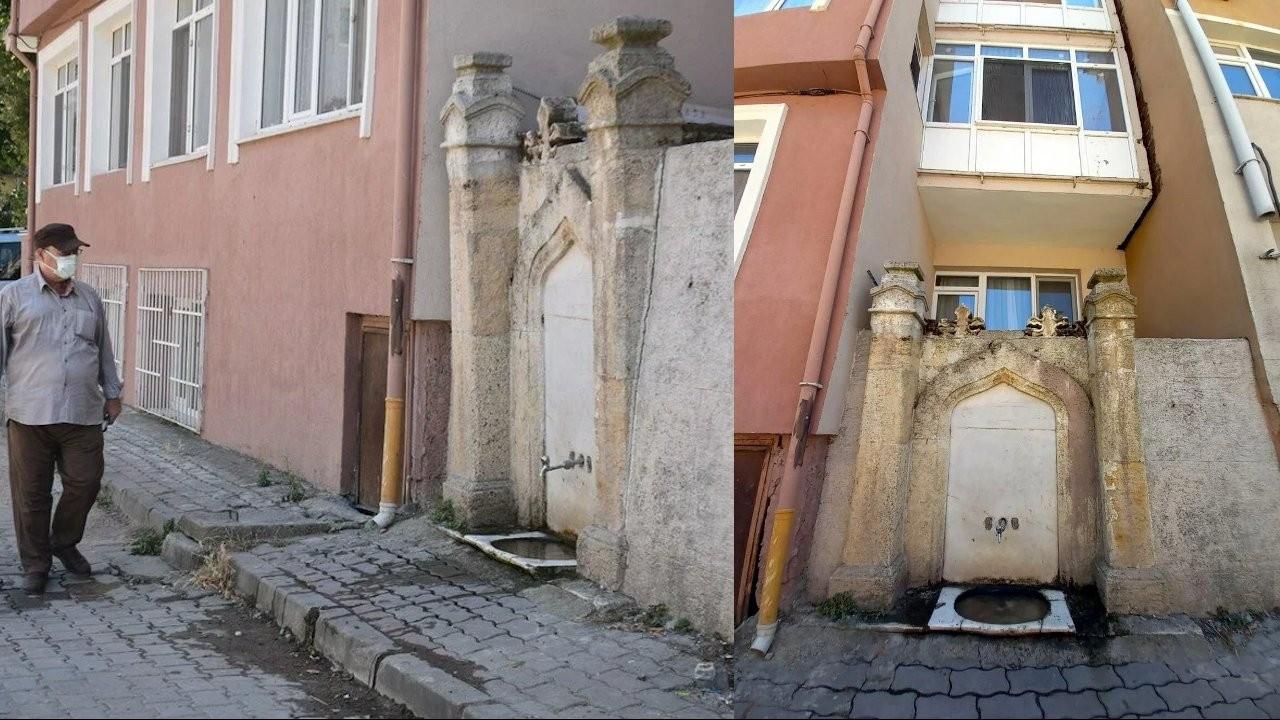 Edirne'de 112 yıllık çeşme apartmanların arasında kaldı